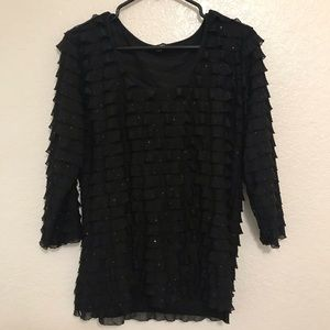 Elementz Ruffled Sequined Shirt